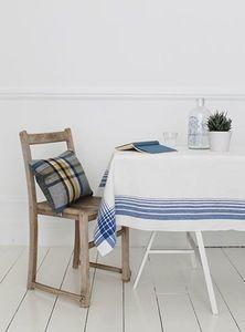 Image of Vintage Blue Stripe Tablecloth