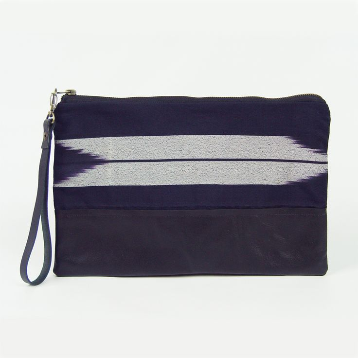 Oversized clutch bag, handmade from vintage kimono fabric and cowhide. (http://www.ifoundlove.com.au/oversized-vintage-kimono-clutch-chevron/)