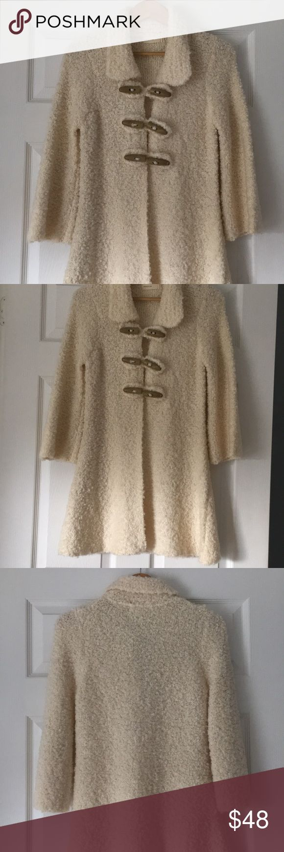"Anthropologie Brand Sleeping on Snow Sweatercoat Anthropologie Brand Sleeping on Snow Sweater Coat. Perfect condition worn once. Very soft (not scratchy) looks pretty over dresses & skirts or jeans / T-shirt. Ivory. Pit to pit 16"", Sleeve 19"" with slight bell shape, length 32"". Bundle discounts available. Anthropologie Sweaters"