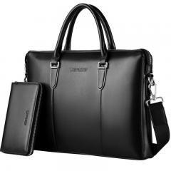 [ $33 OFF ] 17 Genuine Leather Men Messenger Bags Business Leather Laptop Bag Men Bag Men's Briefcase Tote Shoulder Laptop Men's Travel Bag