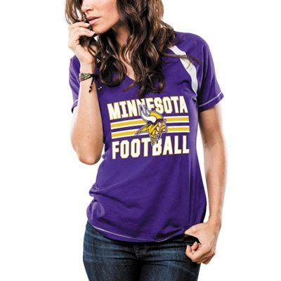Women's Minnesota Vikings Majestic Purple Game Day V-Neck T-Shirt