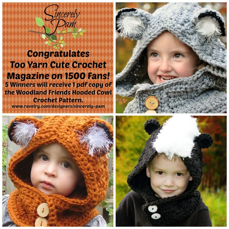 **Sincerely Pam URL: www.facebook.com/sincerelypam PRIZE: 5 winners will win 1 pdf copy of the Woodland Friends Hooded Cowl Crochet Pattern sent via Ravelry Gift.