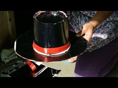 Materials used kfc bucket, cardboard, black glaze paper