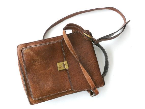 French Vintage Brown Leather Messenger Bag Mans by FrenchCandy