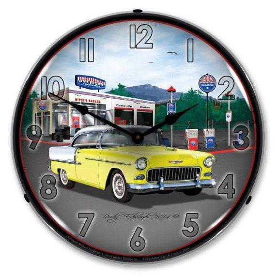 Antique Style 1955 Bel Air Mitch S Garage Backlit Clock 129 99 Wall Clock Light Clock Wall Clock