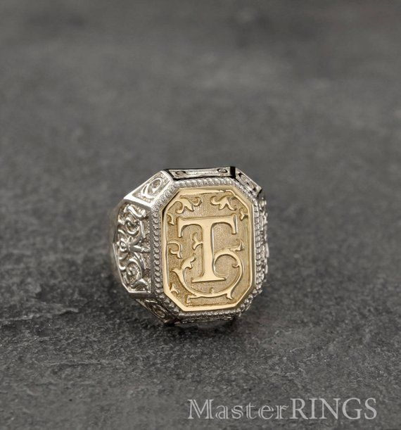 4f618d62aba89 Letter mens signet ring in mixed metals, Initial silver/gold signet ...