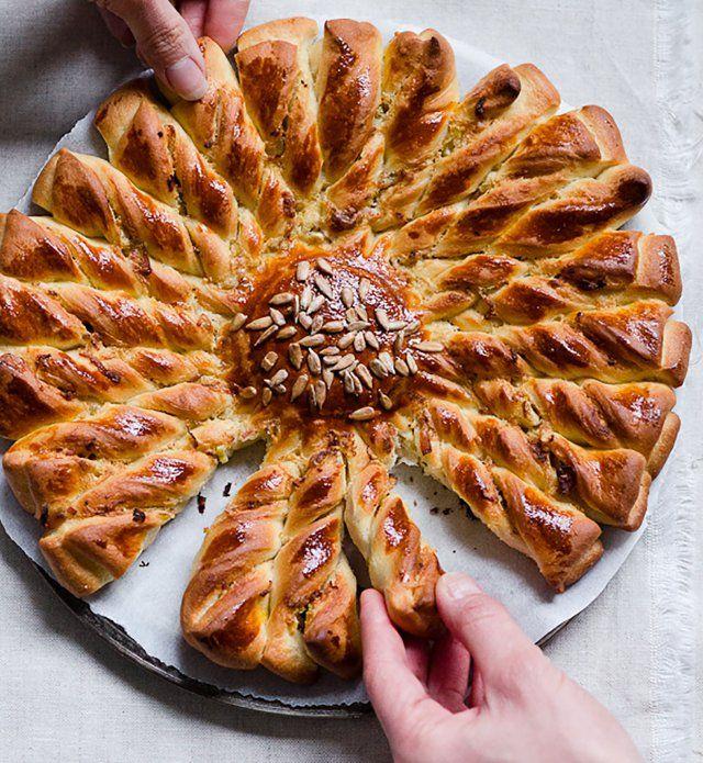 Un+pain+tressé+pancetta+et+oignons,+parfait+pour+l'apéro