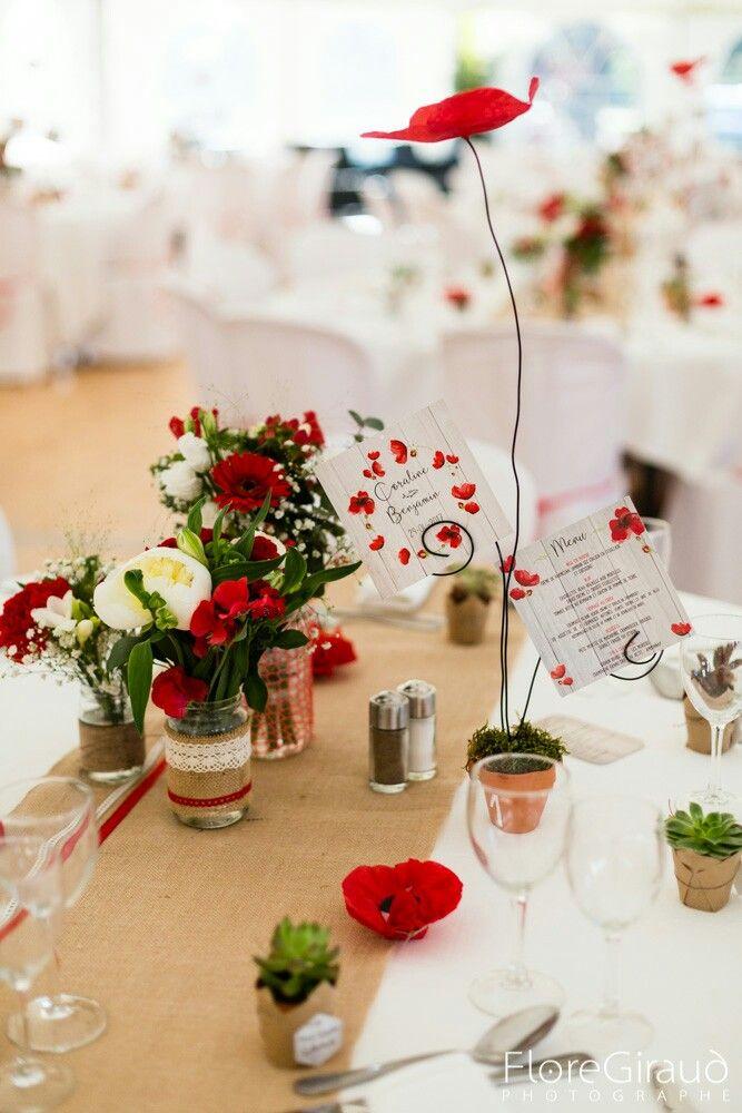 decoration mariage coquelicot