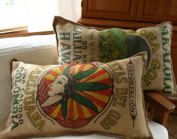 cannabis burlap pillow