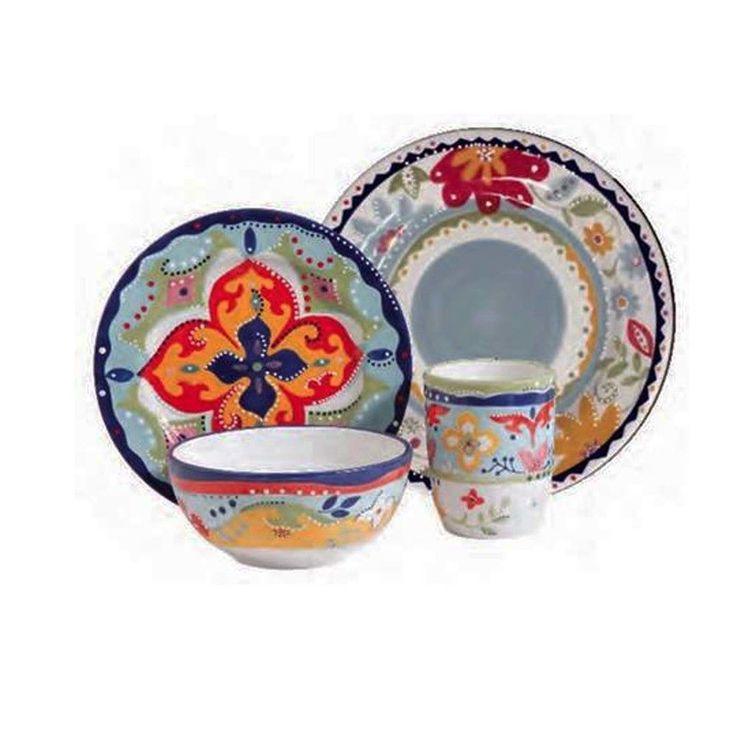 gibson elite fiore olivetti 4 piece dinnerware set
