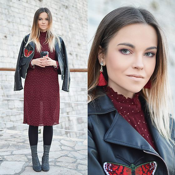Get this look: http://lb.nu/look/8567343  More looks by Tamara Bellis: http://lb.nu/tamarabellis  Items in this look:  Zaful Polka Dot Dress, Yoins Glitter Boots, Sammydress Leather Jacket, Calzedonia Tights, Zaful Earrings   #chic #elegant #street