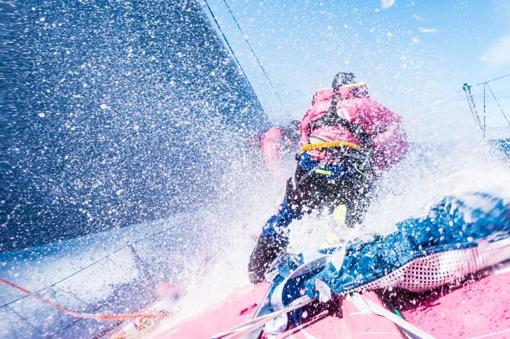March 23, 2015. Leg 4 to Itajai onboard Team SCA. Stacey Jackson and LIz Wardley on the bow - Anna-Lena Elled / Team SCA / Volvo Ocean Race