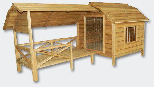 Niche à chien XXL - Bois massif - Terrasse et porte en lamelles: Amazon.fr: Animalerie