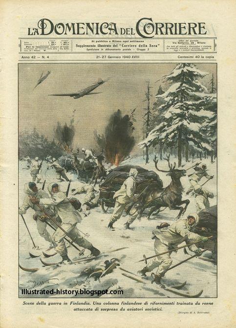 4 .Сцены войны в Финляндии. Колонна снабжения финский оленей обращается напали врасплох советские авиаторы.
