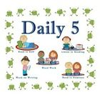 """These are Daily 5 reading and Math center rotation cards with frog themed borders with an additional """"Meet With the Teacher"""" icon."""