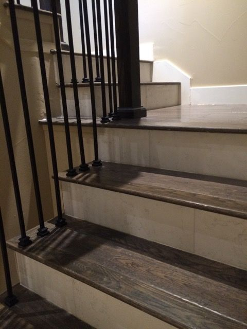 porcelain wood tile stairs - Google Search                                                                                                                                                                                 More