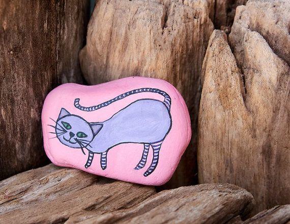 Fun Hand Painted Cat on Beach Stone by artbyhollyb