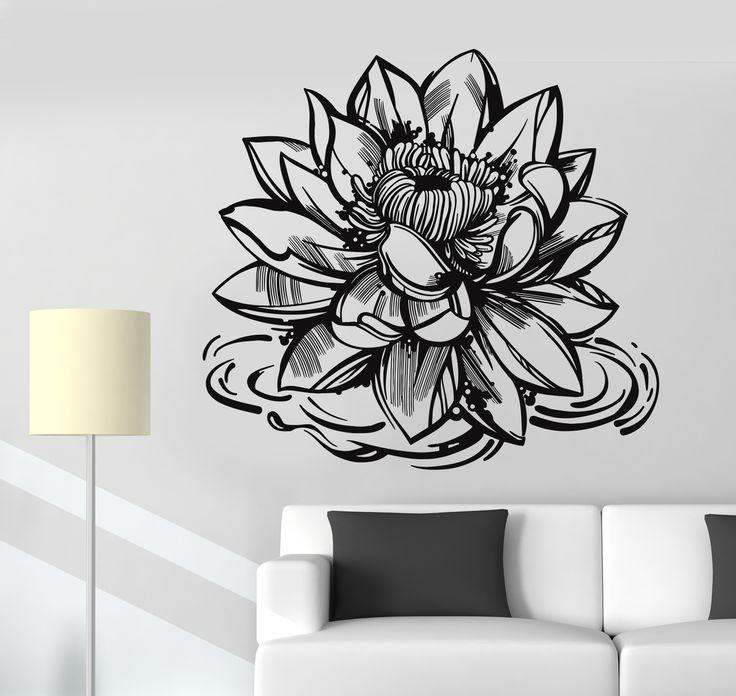 Vinyl Wall Decal Lotus Flower Yoga Meditation Center Buddhism Stickers (1182ig)