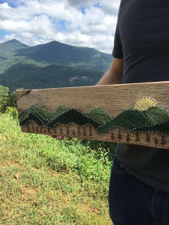 the green mountain range folk string art • repurposed virginia wood /// mountain range design with wood burnt pine tree accents
