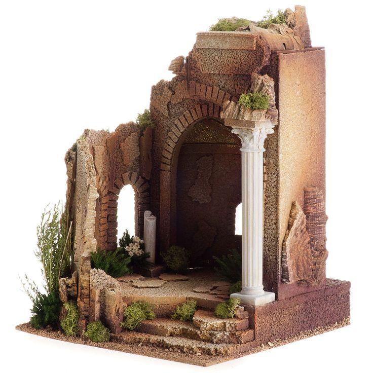 Tempio romano stile antico con arco, per presepe