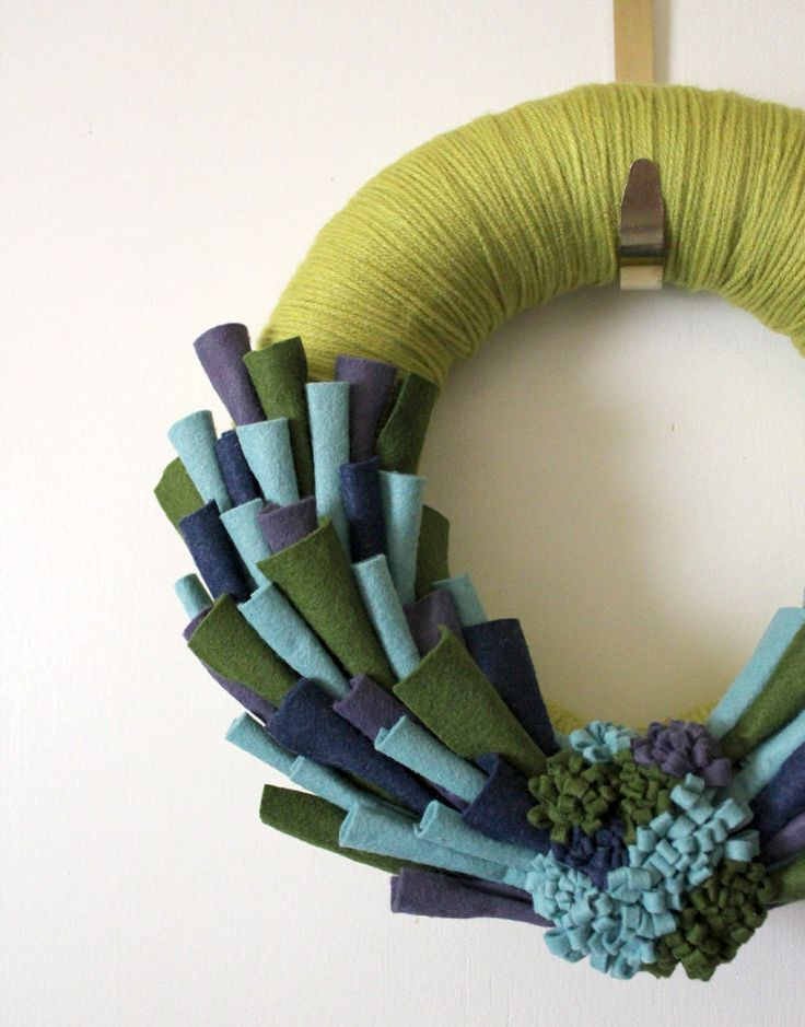 Peacock Felt Wreath Yarn with Green Blue by TheBakersDaughter, $39,00
