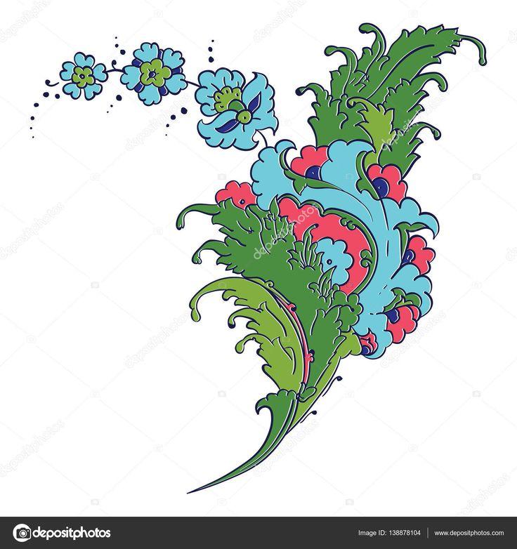 İndir - Iznik tarzı çiçek Çizim — Stok İllüstrasyon #138878104