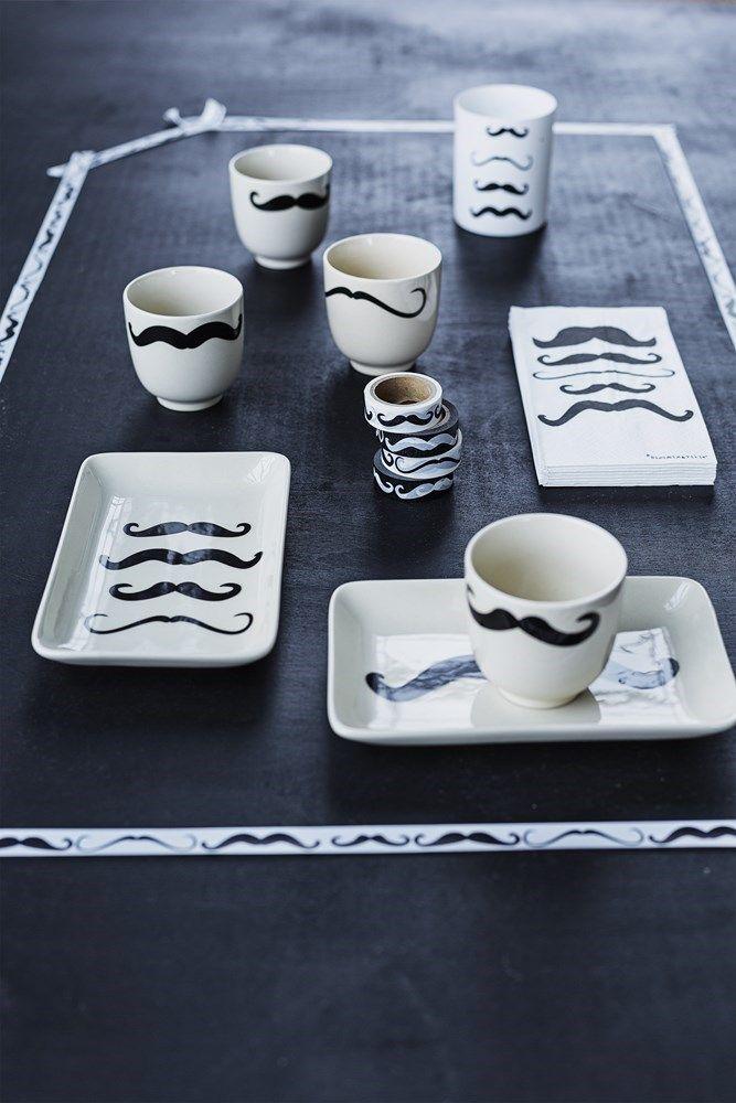 snor moustache servies zwart/wit