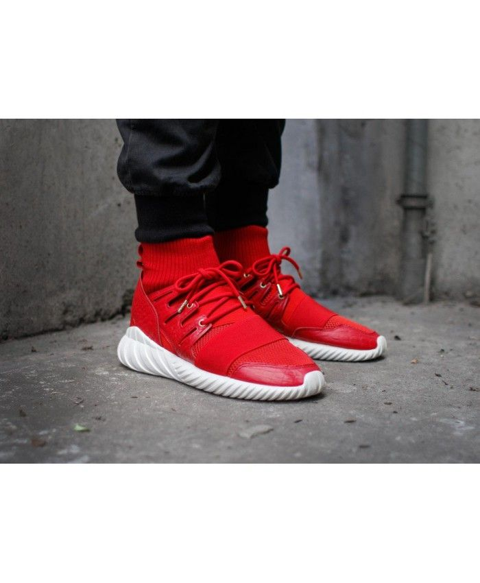 5872b5f8175e Adidas Tubular Doom Power Red Red Gold Metallic Shoes