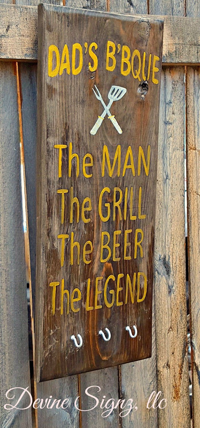 Grill Utensil Holder for Him-BBQ utensil holder-Summer outside decor-Grill sign he will appreciate-Gift for husband and dads-home decor-gift by DevineSignz on Etsy