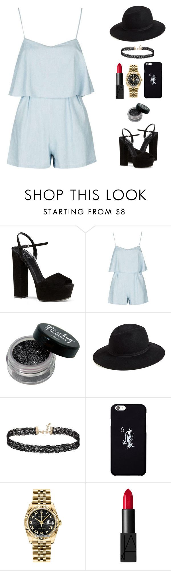 """Untitled #1671"" by i-am-leia ❤ liked on Polyvore featuring Gucci, Hinge, Miss Selfridge, October's Very Own, Rolex and NARS Cosmetics"
