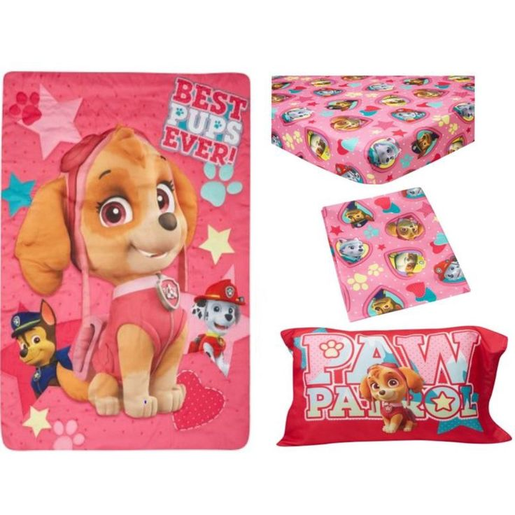 Toddler Bedding Set 4 Piece PAW Patrol Skye Best Pups Ever Kids Bedroom Girls #Nickelodeon