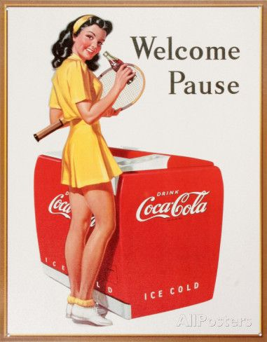 Coke Welcome Pause Tennis Tin Sign at AllPosters.com For the kitchen