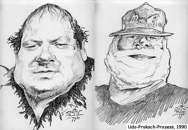 Oliver Schopf Gerichtszeichnung - Udo Proksch nach gesichtschirurgischem Eingriff