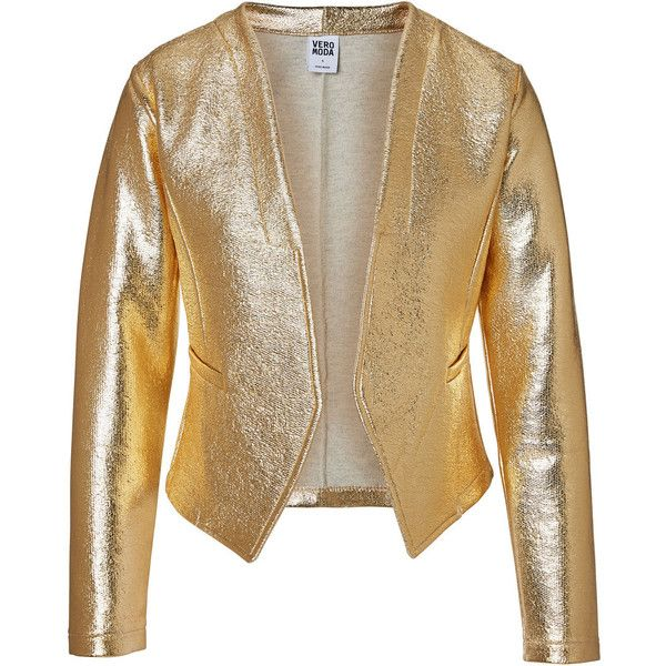 Vero Moda Gold Blazer (32 CAD) ❤ liked on Polyvore featuring outerwear, jackets, blazers, blazer, coats, chaquetas, snow white, vero moda blazer, brown blazer jacket and vero moda