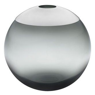 Ulla Christiansson | smoked glass globe vase with silver lid