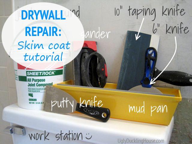drywall repair skim coat tutorial Tip: prime (oil-based) before skim coating to seal any peeling paper