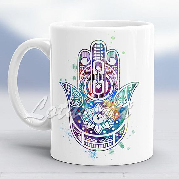 Blue Hamsa Hand Watercolor Mug Hamsa Hand Art Custom Mug Coffee