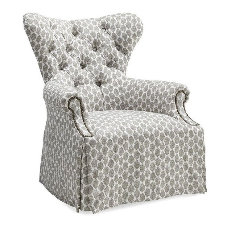 art furniture ava grey tufted back skirted wing chair