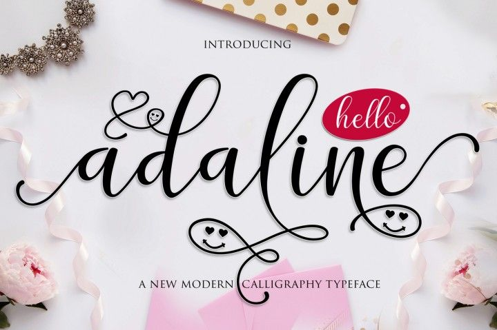 hi everybody, welcome back in my store, this is my latest product, that is adaline script. Adaline Script a new fresh & modern script with a handmade calligraphy style, decorative characters and a dancing baseline! So beautiful on invitation like greeting cards, branding materials, business cards, quotes, posters, lettering and more !!