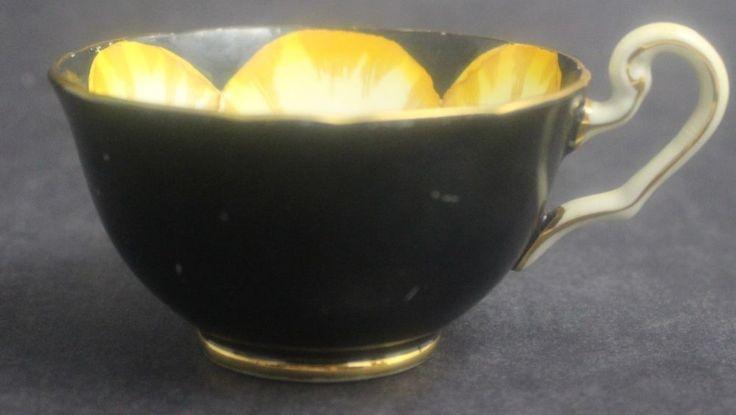 Vintage Signed VICTORIA English Bone China Yellow Jonquil Flower Black Teacup