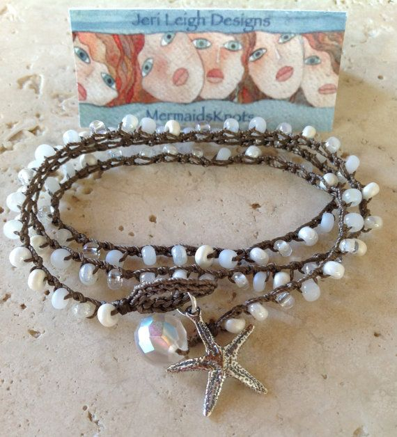 SNOW WHITE 3x Crochet Wrap Bracelet, Bohemian, Czech glass beads, Boho Chic, Sterling Starfish, beach jewelry, romantic on Etsy, $38.00