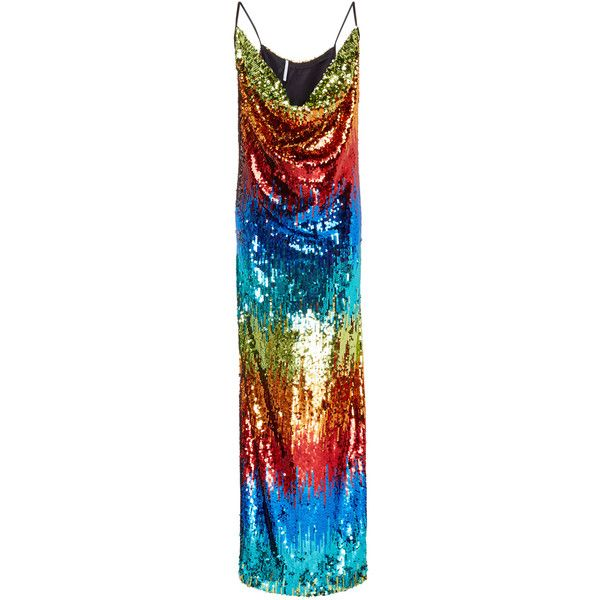 Alcoolique Gilda Rainbow Gown ($490) ❤ liked on Polyvore featuring dresses, gowns, multi, sequin gown, cowl neck dress, full length dresses, sequin evening dresses and sequin ball gown