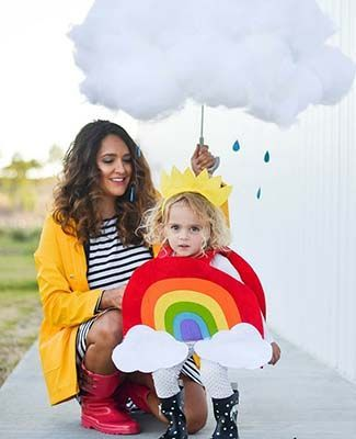 This sweet little rainbow is the perfect paired with your raincoat and galoshes. Add some cotton batting to an umbrella to make a rain cloud too. You can find directions for this DIY rainbow Halloween costume.  2 Easy DIY Halloween Costume Ideas for Everyone on Frugal Coupon Living.