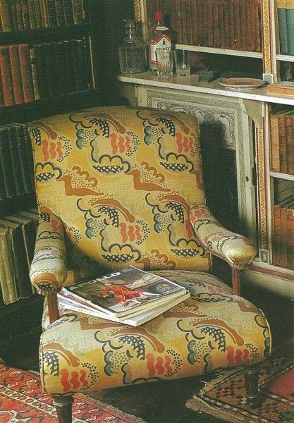 Duncan Grant's 'Clouds' from 1932, shown here on a chair from the library at Charleston farmhouse. Persephone Post