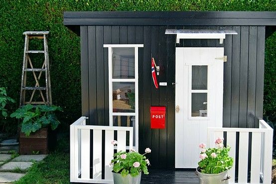 "Shed conversion to playhouse - add single window and window in door.  Perhaps make split door so can open upper portion and have ""service window"""