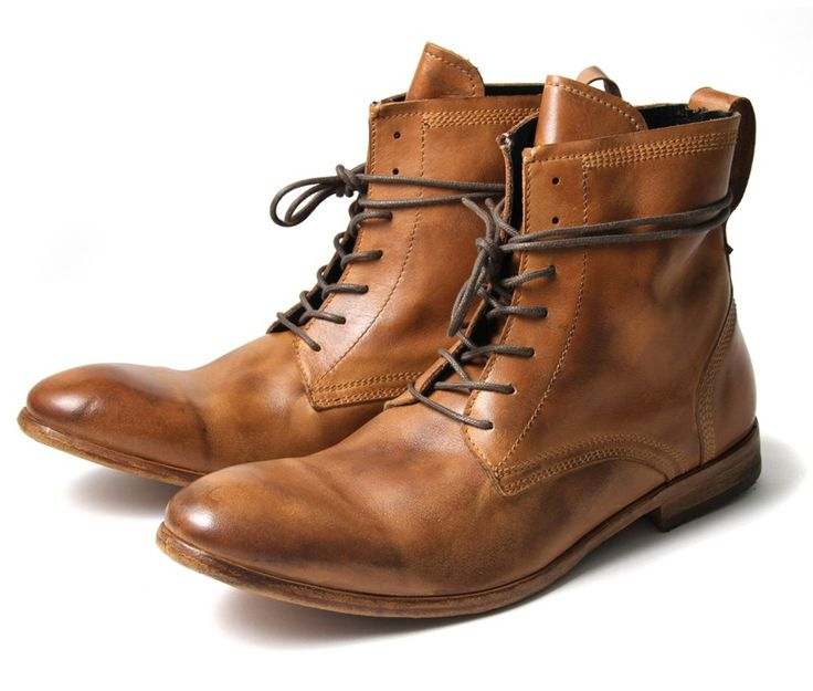 These calf leather casual men\'s boots are one of the favourites here at  HQ.The round toe washed Victorian style leather ankle boot with wrap  around laces