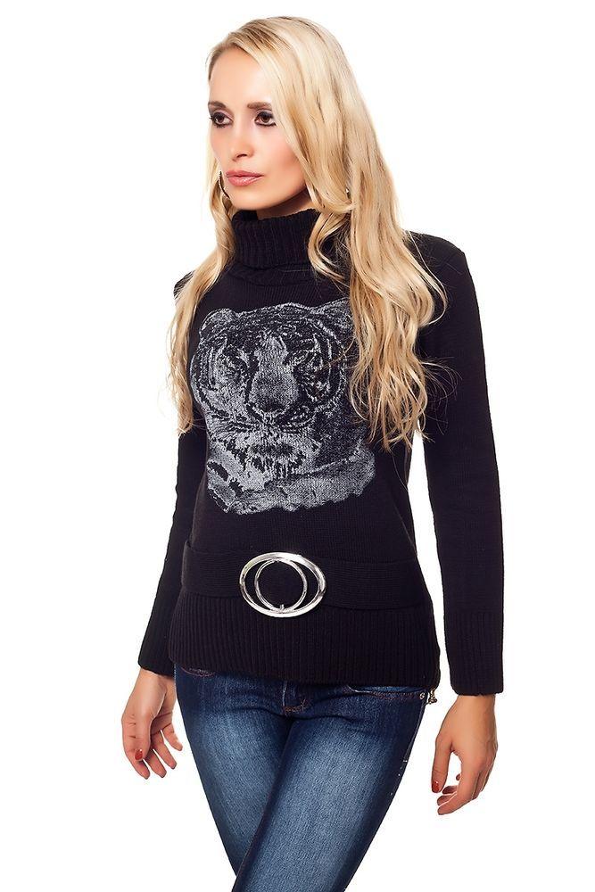 Pullover Rollkragen Sweatshirt Sweatpulli Pulli  Longtop Oberteil Hüftlang Jacke