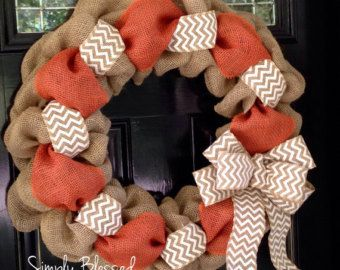 Orange, White, and Natural Chevron Burlap Wreath 22 inch for front door or accent - Summer, Fall, Tennessee