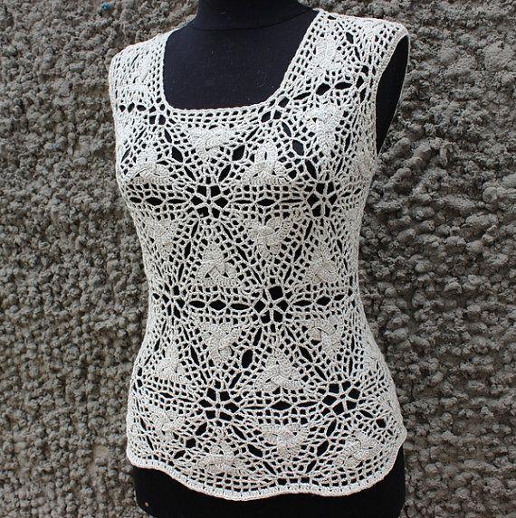 Crochet Pattern PDF top woman  women crochet dress, beach cover up, DIY, photo tutorial, Top with celtik triangle