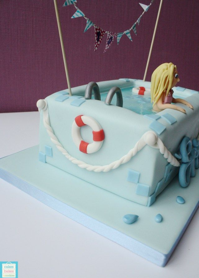 Evies Swimming Pool Birthday cake  CakesBakesAndCookies.com